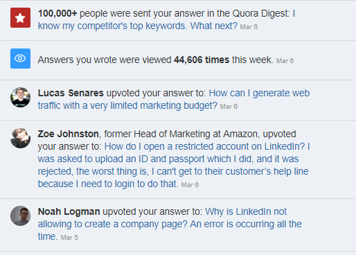 Quora Notifications section
